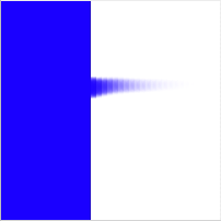 Image that is blue on one side, white on the other, with a choppy smudge