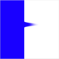 Image that is blue on one side, white on the other, with a smudge