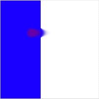 Blue stripe, smudged, red color